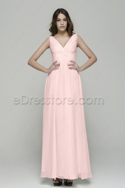 V Neck Pleated Baby Pink Long Bridesmaid Dresses