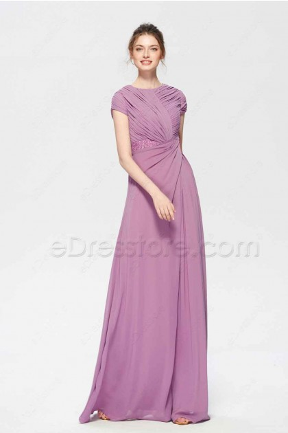 Modest Wisteria Bridesmaid Dress with Short Sleeves