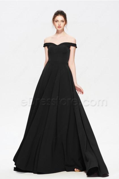 Black Off the Shoulder Evening Dress with side Pockets
