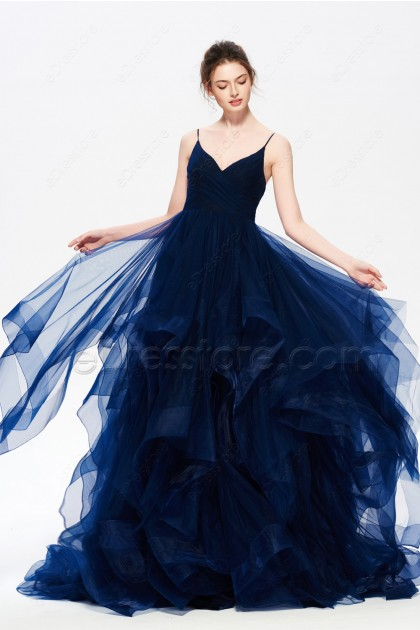 Navy Blue Layered Long Prom Dress with Horsehair Trim
