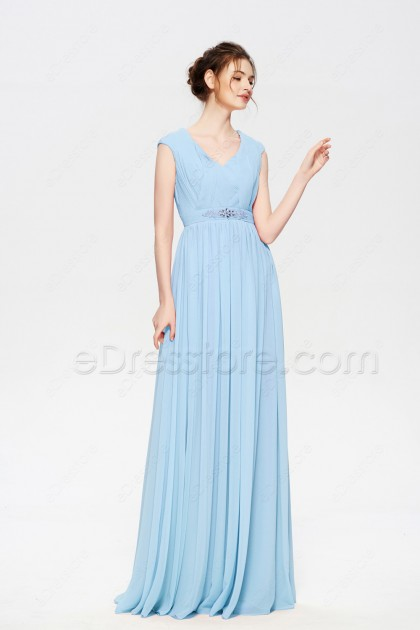 Light Blue Modest Prom Dresses Long