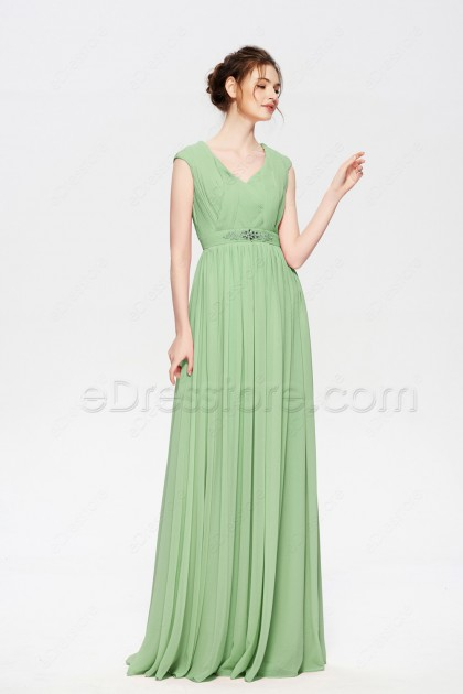 Sage Green Elegant Modest Bridesmaid Dresses Cap Sleeves