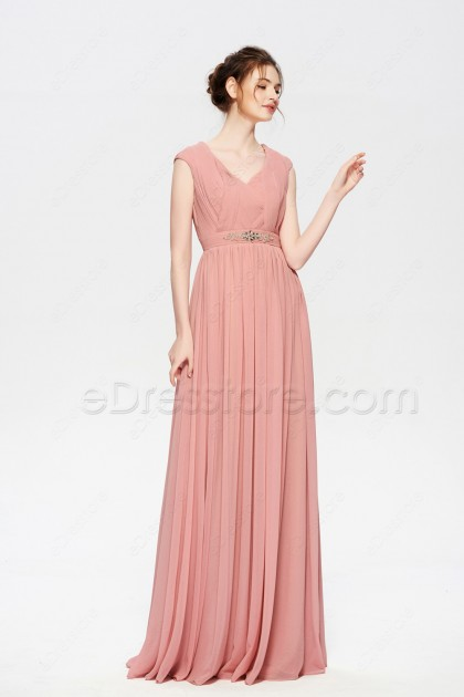 Dusty Rose Modest Mother of the Bride Dresses Long