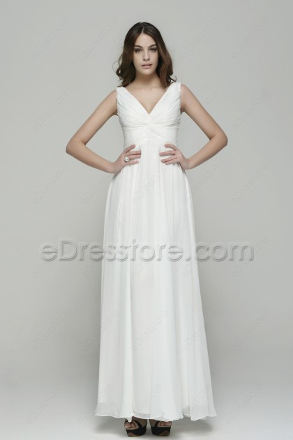 Simple Elegant V Neck Chiffon Beach Wedding Dresses