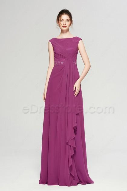 Dark Raspberry Modest Formal Dresses Evening Gown