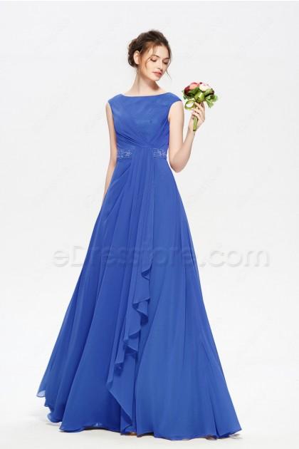 Beaded Modest Royal Blue Bridesmaid Dresses Long