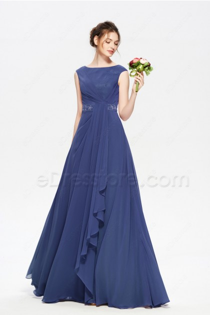 Navy Blue Modest Mother of the Bride Dresses Cap Sleeves