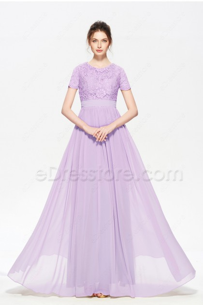 Modest Lavender Long Prom Dresses with Sleeves