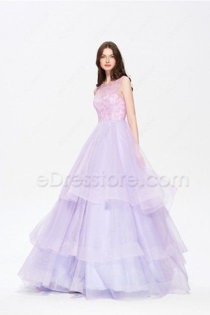 Lavender Tiered Ball Gown Prom Dresses Long