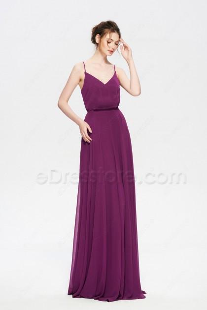 Deep Raspberry Popover Formal Dresses Spaghetti Straps