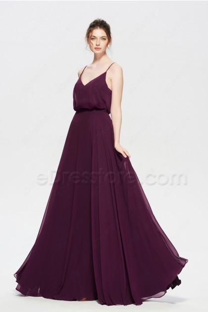 Plum Popover Boho Bridesmaid Dresses Long