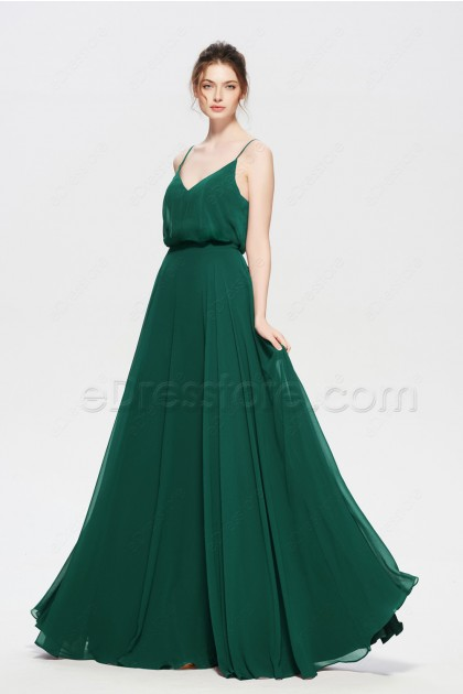 Hunter Green Spaghetti Straps Evening Dresses Long