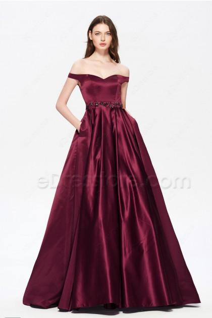 Off the Shoulder Vintage Beaded Burgundy Prom Dresses Long