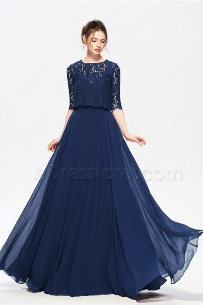 Navy Blue Modest Formal Dresses with Bolero