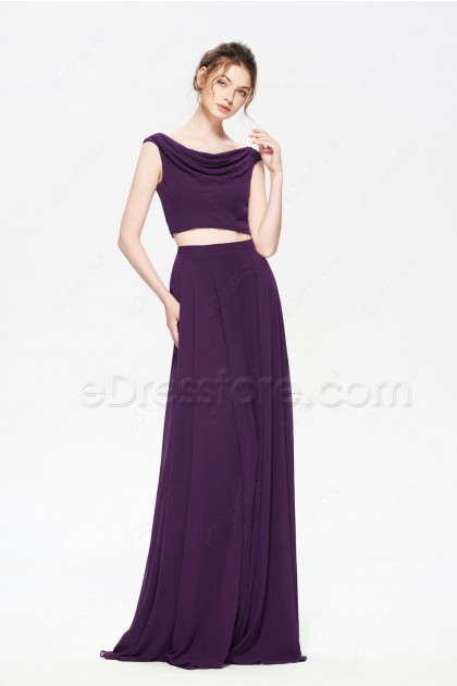 Plum Purple Two Piece Boho Prom Dress