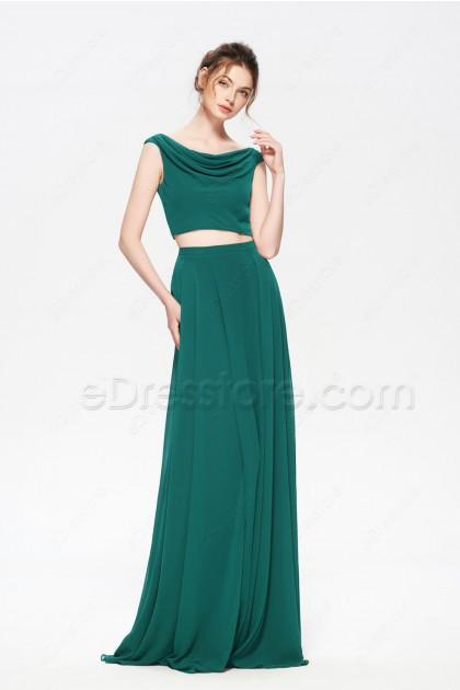Jade Green Two Piece Boho Bridesmaid Dresses Long