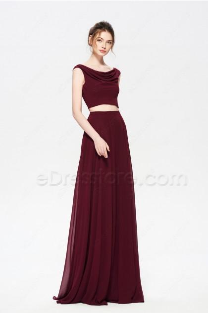 Burgundy Two Piece Long Bridesmaid Dresses