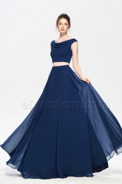 Navy Blue Two Piece Evening Dresses Long