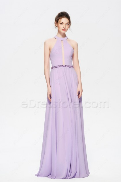 Lavender Beaded Halter Backless Long Prom Dresses