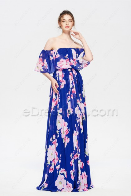 Floral Off the Shoulder Bridesmaid Dresses Long