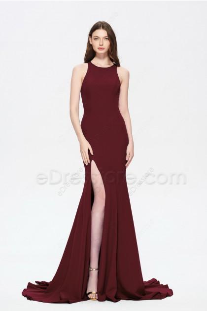 Burgundy Mermaid Slitted Prom Dresses Long