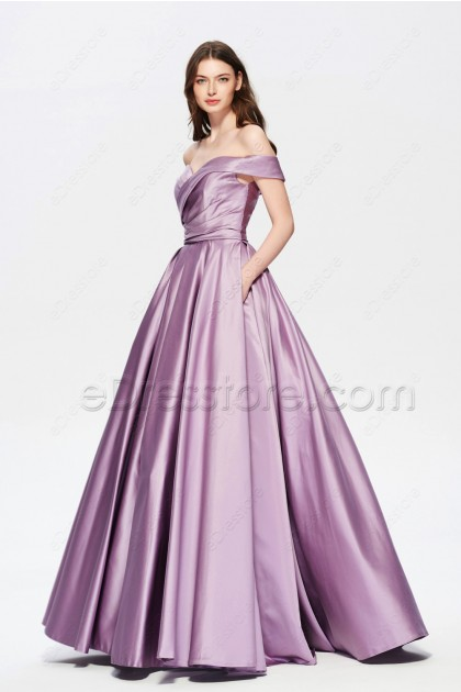 Dusty Lavender Off the Shoulder Ball Gown Prom Dresses