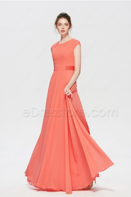 Modest Beaded Coral Bridesmaid Dresses