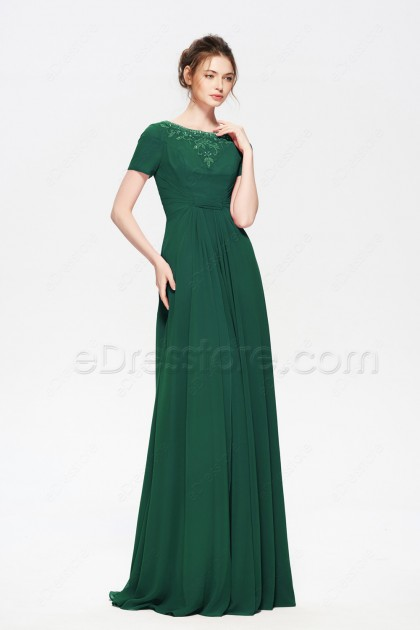 Hunter Green Modest Mother of the Bride Dress with Sleeves Hand Beadings