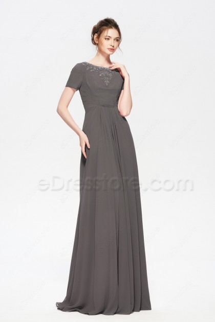 Charcoal Beaded Modest Formal Evening Dresses with Sleeves