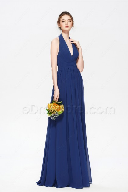 Halter Navy Blue Bridesmaid Dresses Long