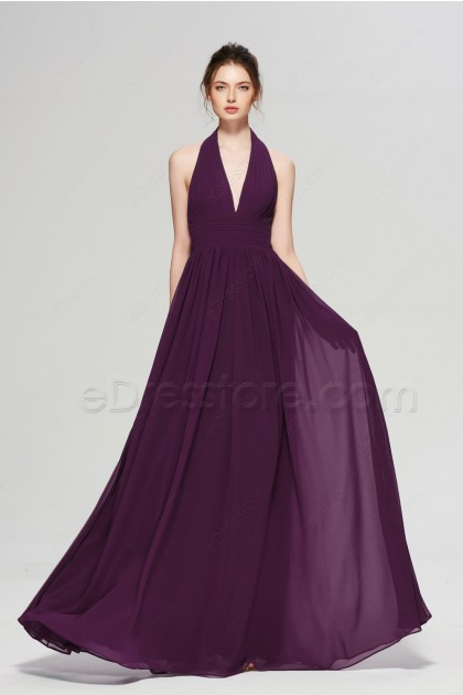Plum purple Long Bridesmaid Dresses Halter V Neck