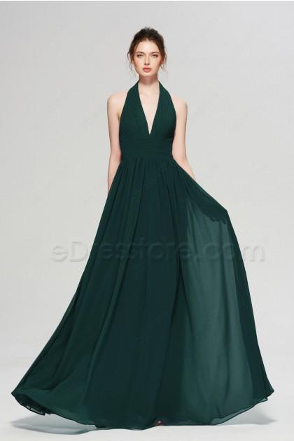 Dark Green Halter Formal Dresses Long