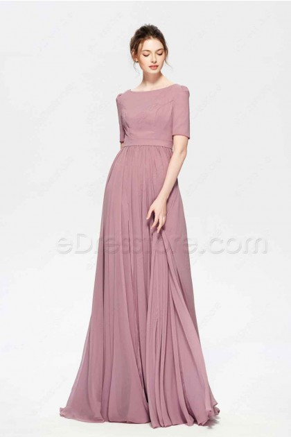 2a16644bf9a6e Dusty Rose Color Modest Bridesmaid Dress Elbow Sleeves