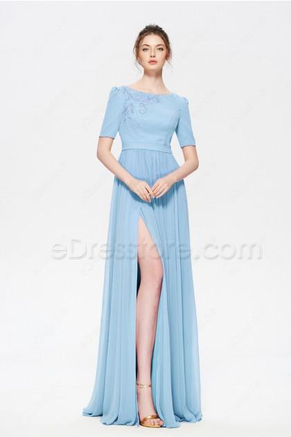 Light Blue Modest Beaded Prom Dress with Slit