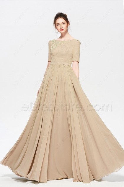 Champagne Modest Beaded Long Evening Dresses with Sleeves