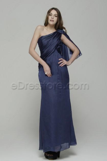 One Shoulder Greyish Blue Trumpet Formal Dress