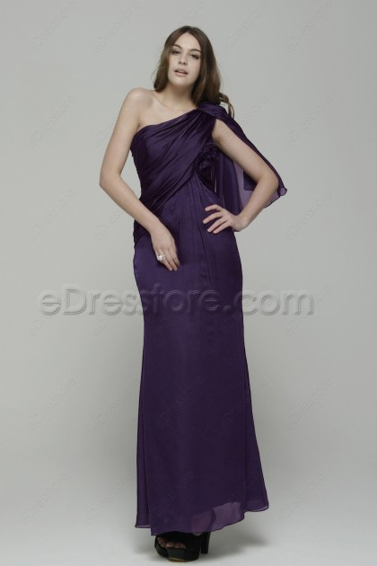 One Shoulder Dark Purple Evening Dresses