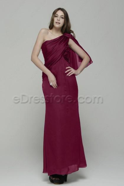 One Shoulder Trumpet Burgundy Prom Dress