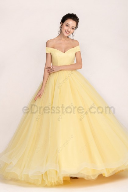Yellow Ball Gown Princess Vintage Prom Dresses