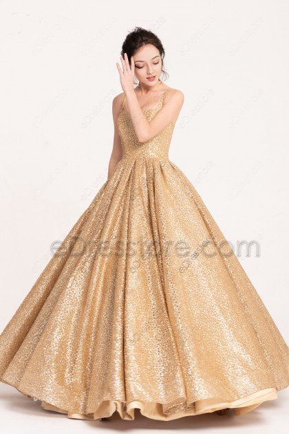 Sparkle Golden Princess Prom Dresses Long