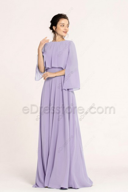 Modest Popover Lavender Bridesmaid Dresses with Sleeves