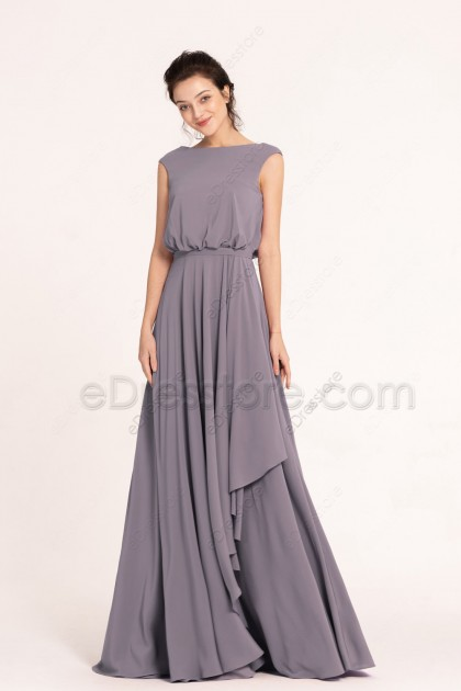 Popover Modest Bridesmaid Dresses Wisteria Grey