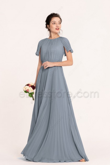 Modest Dusty Blue Bridesmaid Dresses with Short Sleeves