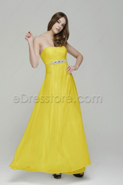 Sweetheart Yellow Evening Dress with Crystals