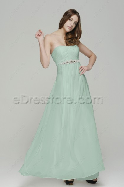 Strapless Pastel Green Long Prom Dresses with Crystals