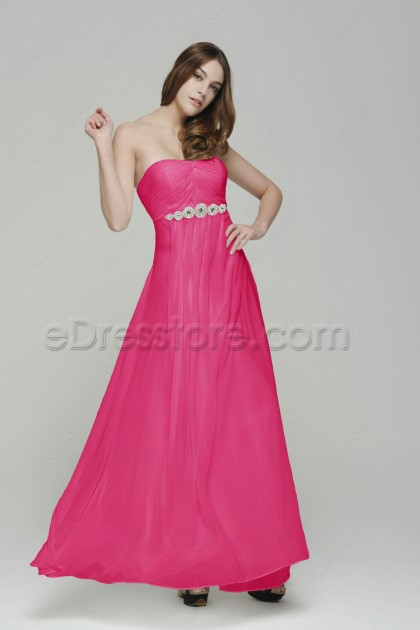 Strapless Hot Pink Evening Drseses with Rhinestones