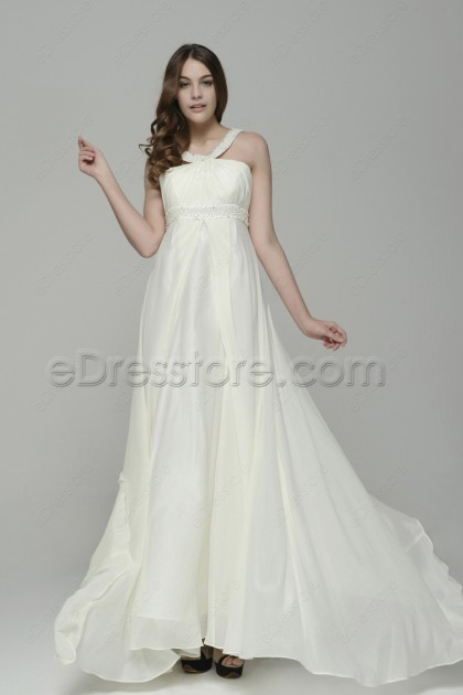 Pearls Beaded Chiffon Beach Wedding Dress with Train