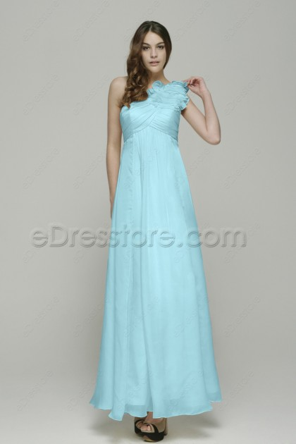 One Shoulder Ruffles Light Blue Prom Dresses with Empire Waist
