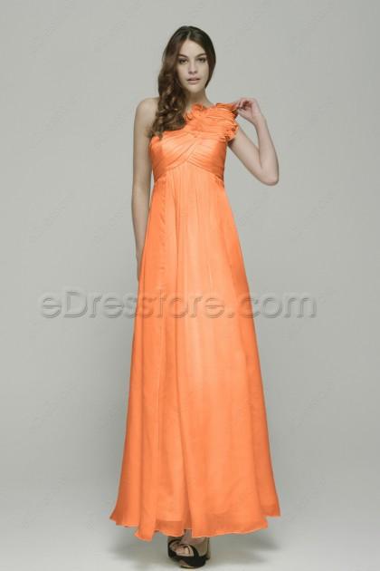 One Shoulder Orange Formal Dress for Pregnant