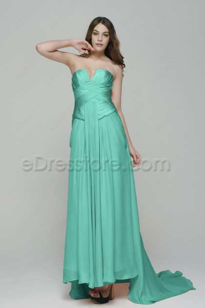 Notched Neckline Mint Green Evening Dresses with Train